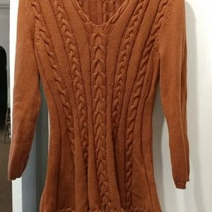Cable knit caramel sweater top